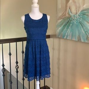 Royal blue, lace overlay dress